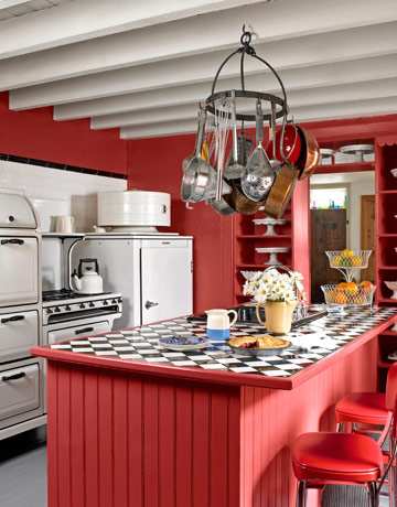 Farmhouse for Red white and black kitchen designs