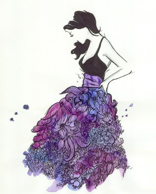 purple skirt flower print